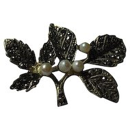 Vintage German Sterling Marcasite and Cultured Pearl Pin