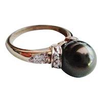 14K. Tahitian Pearl & Diamonds Gold Ring (10.5mm) - Size 10