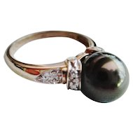Tahitian Pearl (10.5mm) & Diamond Ring - 14Kt. Gold - Size 10