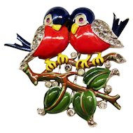 Trifari Birds on Branch Pin Clip - Robin Lovebirds Vintage 1940 Brunialti Book Piece