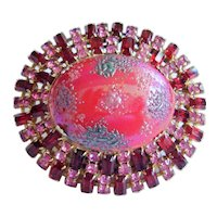 "Vintage Art Glass Dome Pin - Bold 2-5/8"" - Pink & Ruby Red Rhinestones,  Unsigned"