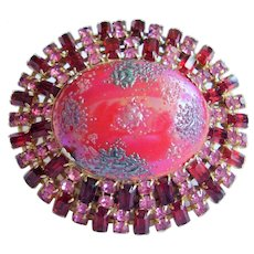 """Vintage Art Glass Dome Pin - Bold 2-5/8"""" - Pink & Ruby Red Rhinestones,  Unsigned"""