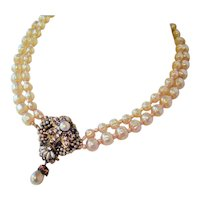 "Faux Pearl Cluster Necklace Double Strand - Vintage 1950's -  15"" Necklace with 2"" Extender"