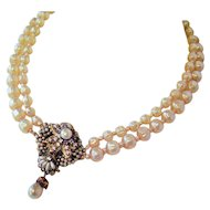"""Faux Pearl Cluster Necklace Double Strand - Vintage 1950's -  15"""" Necklace with 2"""" Extender"""