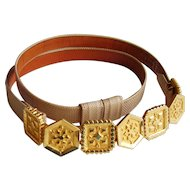 Alexis Kirk Snakeskin Belt - Vintage 1980's with Adjustable Gold Plated Links - Designer Signed - Neiman Marcus