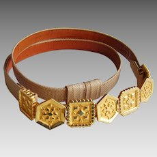Alexis Kirk Snakeskin Belt - Vintage 1980's with Adjustable Gold Plated Links - Designer Signed - Neiman Marcus