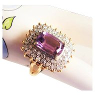 Diamond & Amethyst Cocktail Ring - Vintage 1980's  14Kt Gold - 8.9 Grams  Size 9 - Emerald Cut Amethyst Center Gemstone