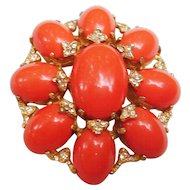 "Kenneth Jay Lane K.J.L. Early Mark Vintage Faux Coral Cabochon Pin 1960's-70's  Maltese Style 2-1/2"" High"