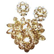 Eisenberg Brooch & Earrings Vintage Demi - Champagne Color Rhinestones & Clear Rhinestone Ribbon Pre 1955