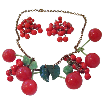 Vintage Bakelite Cherry Necklace & Cluster Earrings - Book Piece with 6 Bakelite Cherries & Celluloid Leaves