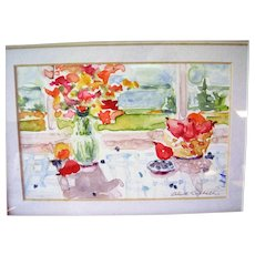 """Original Watercolor Painting by N.J. Artist Alice Skidmore Culbreth - Still Life with Water View - 12"""" x 10"""" Framed"""