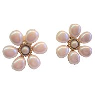 "Carol Dauplaise Vintage 1980's Simulated Pearl Clip Earrings - Bold 1-1/4"" Diameter"