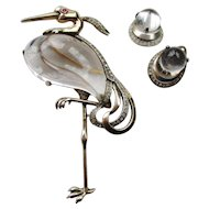 Trifari Sterling Jelly Belly Pin - Great Blue Heron - Vintage 1943 - Book Piece 3-1/2""