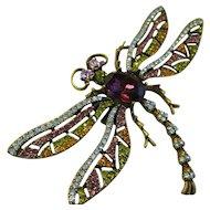 """Heidi Daus - Dragonfly Trembler Pin - Swarovski Crystals - Faux Amethyst Focal - Bold 3-3/4"""" Wide"""