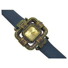 Heidi Daus - Watch - Quartz Watch with 3 Interchangeable Leather Bands - Swarovski Crystals in Original Box - New Battery