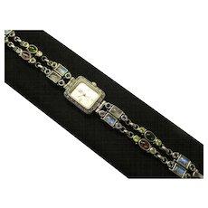 "Nicky Butler NB Sterling Silver Watch - 54 Grams -  Multi Gemstone Bracelet Quartz Watch 7-1/4"" - 7-3/4"" Length"