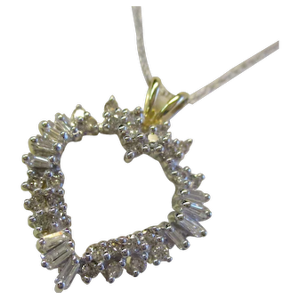 14 Kt. Yellow Gold & Diamond Heart Pendant  - 3/4 Carats Diamonds -  3.8 Grams