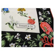 "Tiffany & Co. Silk Scarf - Vintage Sybil Connolly Floral Design for Tiffany's - 36"" x 35"""