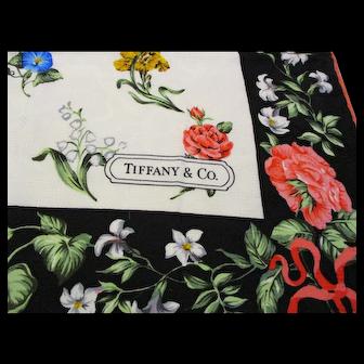 "Tiffany & Co. Silk Scarf - Vintage Sybil Connolly Floral Design for Tiffany's - 36"" x 35"""
