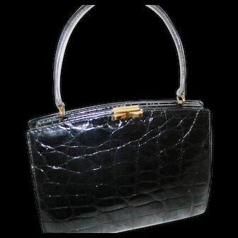Black Alligator Handbag - Made in France Exclusively for Bonwit Teller - Vintage Mid 1960's
