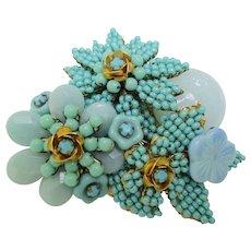 "Stanley Hagler - Ian St. Gielar - Vintage Pin  - Shades of Blue - 2-1/4"""