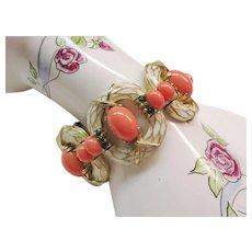 """Trifari - L'Orient Bracelet - Vintage 1968 Collection - Enamel & Faux Coral Cabochons 7"""""""