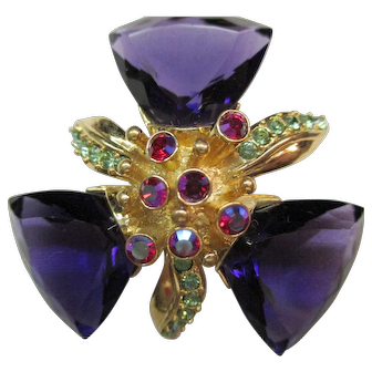 Givenchy Pin - Amethyst Color Trilliant Crystals - Vintage 1980's