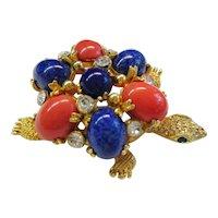 Cadoro Turtle Pin - Faux Coral & Lapis Cabochons -  Vintage 1960's - Designer Signed