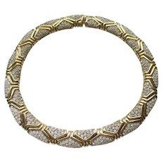 """Nina Ricci Necklace - Vintage 1980's Pave Rhinestone Choker Necklace 14"""""""