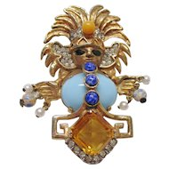 """Kenneth Jay Lane K.J.L. - Aztec Figural Pin - Bold 3"""" High -  Early Mark - Book Piece"""