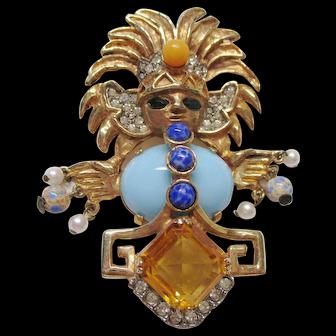 Kenneth Jay Lane K.J.L. - Aztec Figural Pin Early Mark - Book Piece