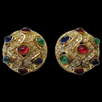 "Ciner Vintage Earrings - Bold Moghul Style 1-1/4"" Diameter Clip Earrings"