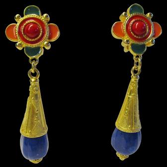Ben-Amun Vintage Long Drop Clip Earrings - Etruscan Revival Collection
