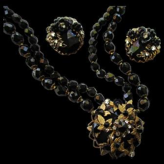 De Mario Necklace and Earrings Set - Jet Black Double Strand Bead Necklace - Vintage 1950's