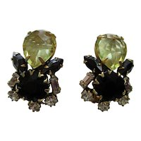 "Schreiner New York - Clip Earrings - Vintage 1950's 1-3/8"" High - Jet Black & Jonquil Rhinestones"