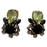 "Schreiner New York - Clip Earrings - Vintage 1950's 1-3/8"" High - Jet Black & Jonquil Rhinestones"