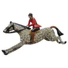 Trifari Riding Jockey Figural Pin - Vintage 1938 - Rare Brunialti Book Piece