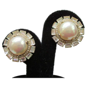 """Ciner Vintage Earrings - Faux Pearl & Baguettes Clip Earrings  1"""""""