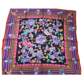 """Wendy Gell Vintage Silk Twill Scarf - Made in Italy 35"""" x 34"""""""