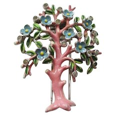 Trifari Pink Enamel Tree Fur Clip/Pin - Brunialti Book Piece - Vintage 1942