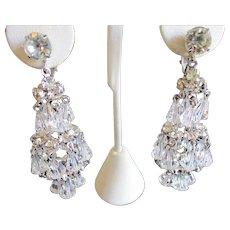 Hattie Carnegie Chandelier Crystal Clip Earrings - Vintage 1950's