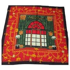 """Cartier - Silk Twill Scarf - Paris Boutique Facade - Vintage 34 x 35"""" Square"""