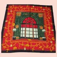 "Cartier - Silk Twill Scarf - Paris Boutique Facade - Vintage 34 x 35"" Square"