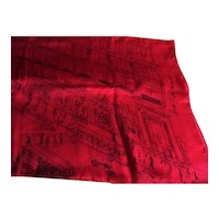 Saks Fifth Avenue Vintage Silk Scarf - Line Drawing of Fifth Avenue Store & Rockefeller Center - 35 x 34""