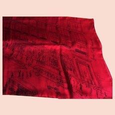 "Saks Fifth Avenue Vintage Silk Scarf - Line Drawing of Fifth Avenue Store & Rockefeller Center - 35 x 34"""