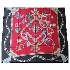 "Kenneth Jay Lane Silk Scarf -  KJL Vintage Jewel Designs  35"" x 35"" Square"
