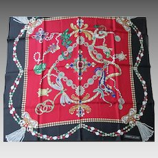 "Kenneth Jay Lane Silk Scarf -  KJL Vintage Jewel Designs  35"" x 35"" Square"