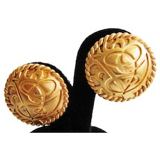 "Valentino Clip Earrings - Vintage 1980's  1-1/4"" Gold Tone Discs - Designer Signed"