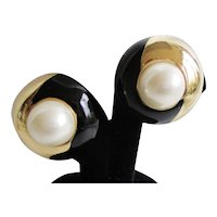 Ciner Vintage Clip Earrings with Faux Pearls, Gold Tone & Enamel