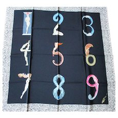 Erte Silk Scarf - Vintage Mid 1980's - The Numerals Series  1 - 9 - Made in Italy